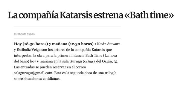 Katarsis estrena «Bath time»